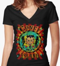 Coney Island Devil Women's Fitted V-Neck T-Shirt
