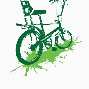 twisted wheels: chopper splash green by fourfootsquare