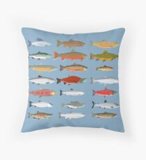 Trout, Char and Salmon Group Throw Pillow