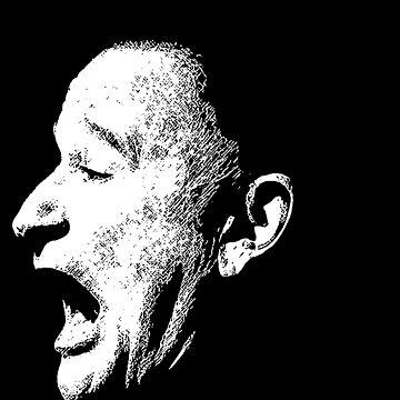 Robin Williams funny scream (BLACK T-SHIRT) by javics