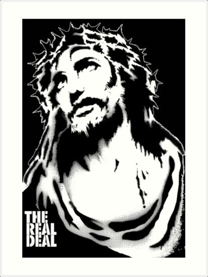 jesus stencil art prints by masterplan redbubble