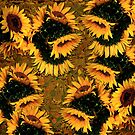 Sunflowers and Mexican Tile by LaRoach