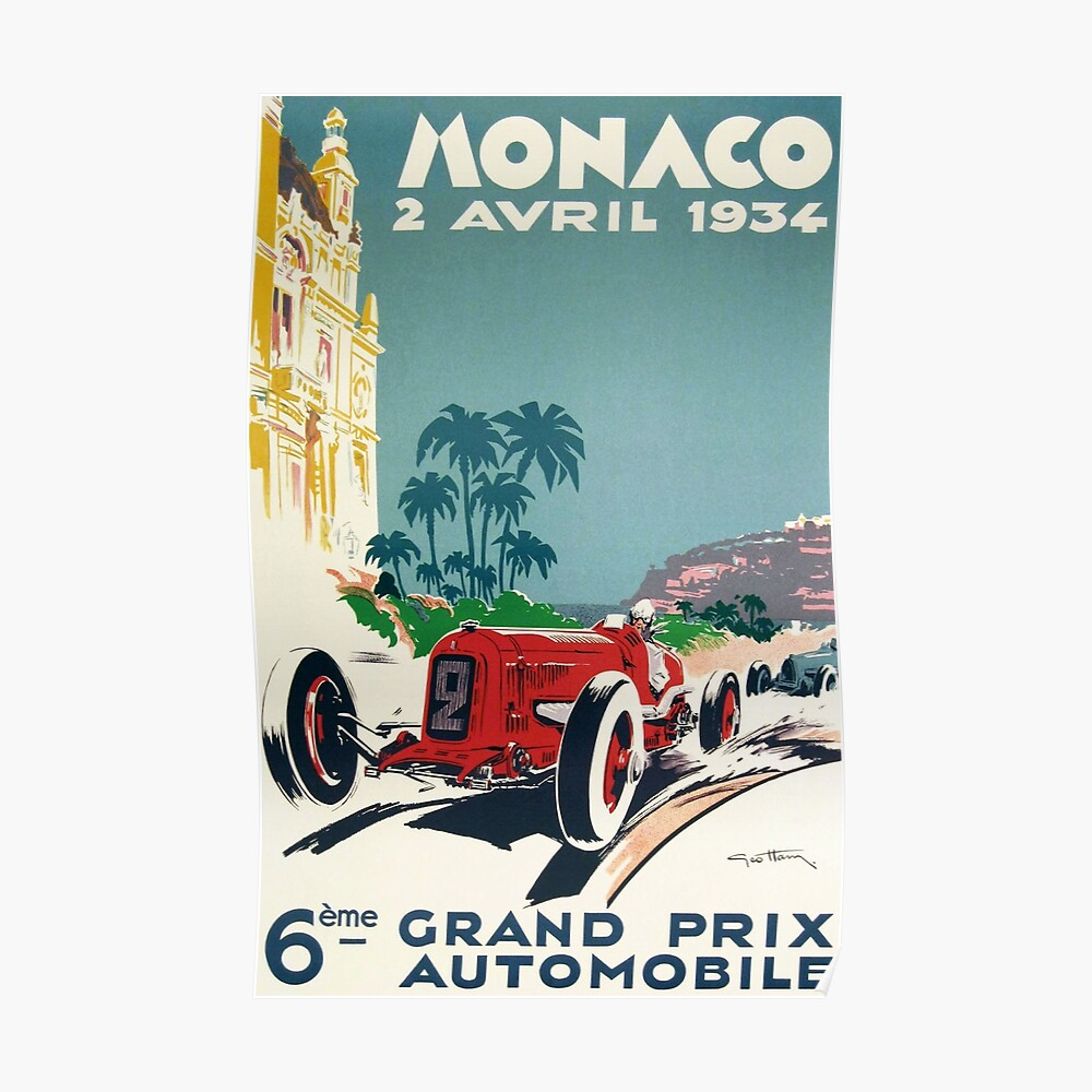 Rennplakat, Gran Prix de Monaco 1934, Vintages Plakat, Autoplakat Poster