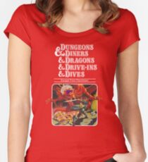 Dungeons & Diners & Dragons & Drive-Ins & Dives: Slightly Larger Image Women's Fitted Scoop T-Shirt