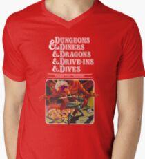 Dungeons & Diners & Dragons & Drive-Ins & Dives: Etwas größeres Bild T-Shirt mit V-Ausschnitt
