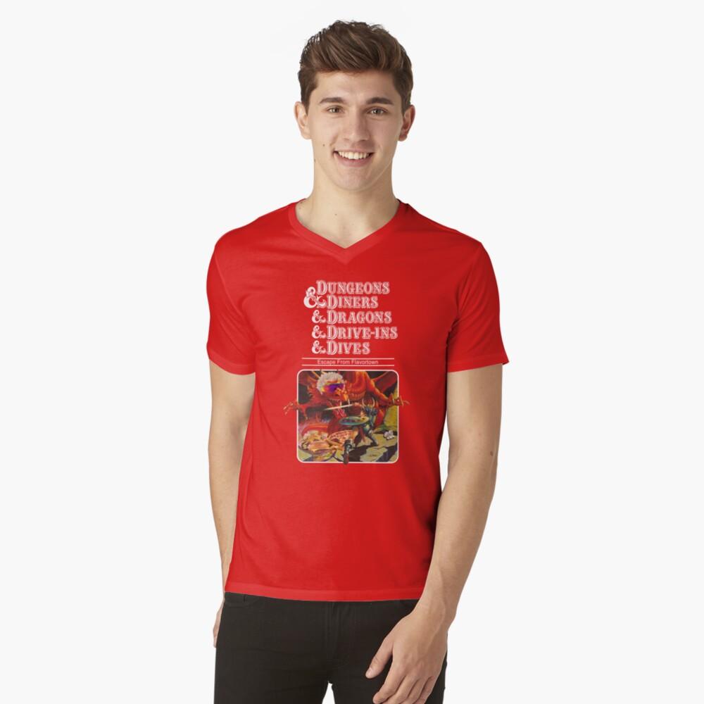Dungeons & Diners & Dragons & Drive-Ins & Dives: Slightly Larger Image V-Neck T-Shirt