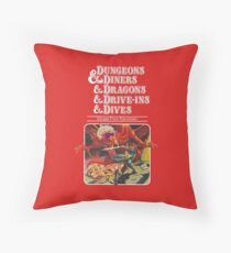 Dungeons & Diners & Dragons & Drive-Ins & Dives: Slightly Larger Image Throw Pillow