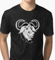 GNU (White Outline) Official Logo Mascot T-Shirt Tri-blend T-Shirt