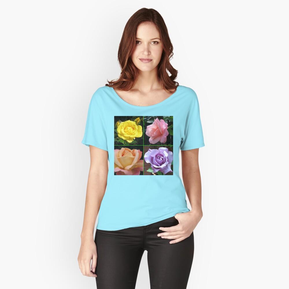 Rosen-Collage im gespiegelten Rahmen Loose Fit T-Shirt