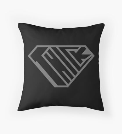 Thick SuperEmpowered (Black on Black) Throw Pillow