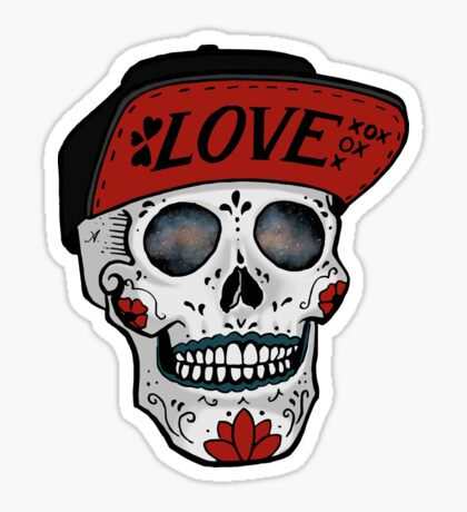 Love Sugar Skull and Flat bill hat Sticker