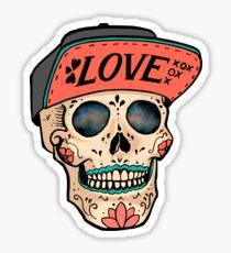 Love Sugar Skull and Flat bill hat  Sticker