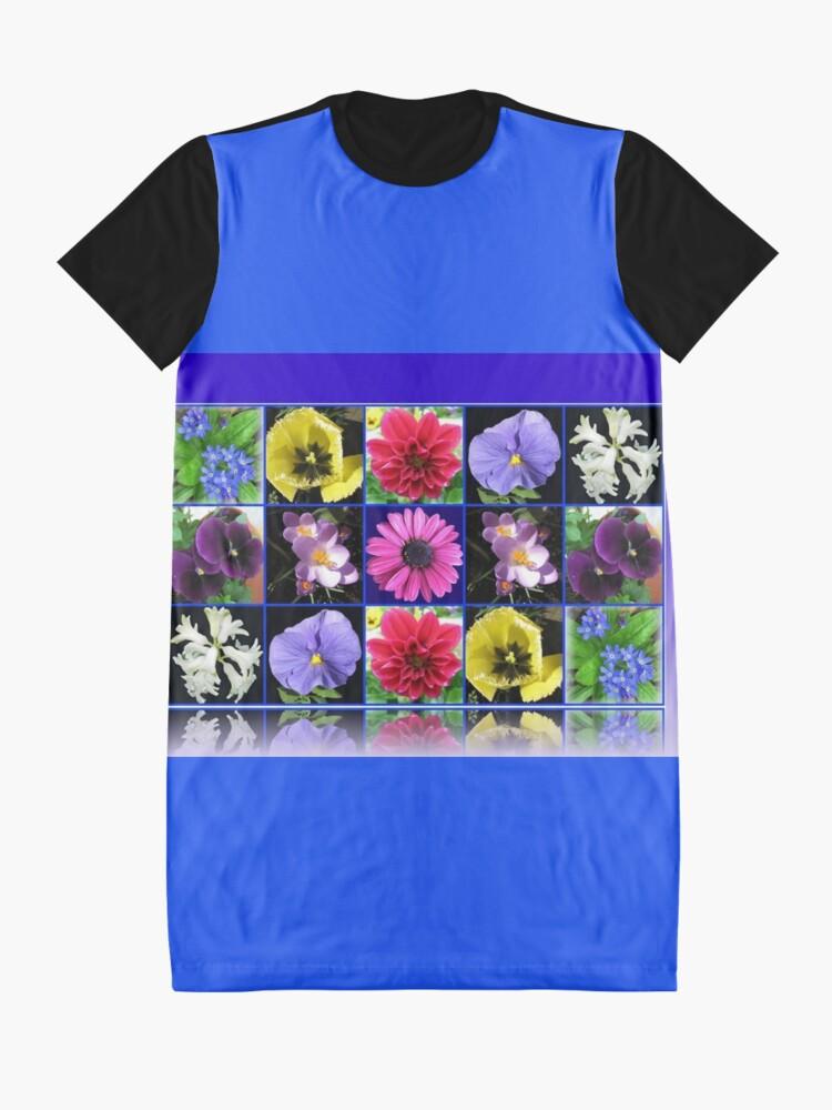 Alternative Ansicht von Voices of Spring - Floral Collage in Blue Reflection Frame T-Shirt Kleid