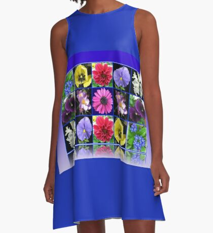 Voices of Spring - Floral Collage in Blue Reflection Frame A-Linien Kleid