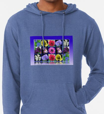 Voices of Spring - Floral Collage in Blue Reflection Frame Leichter Hoodie