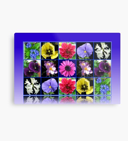 Voices of Spring - Floral Collage in Blue Reflection Frame Metallbild