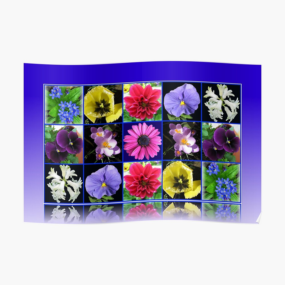 Voices of Spring - Floral Collage in Blue Reflection Frame Poster