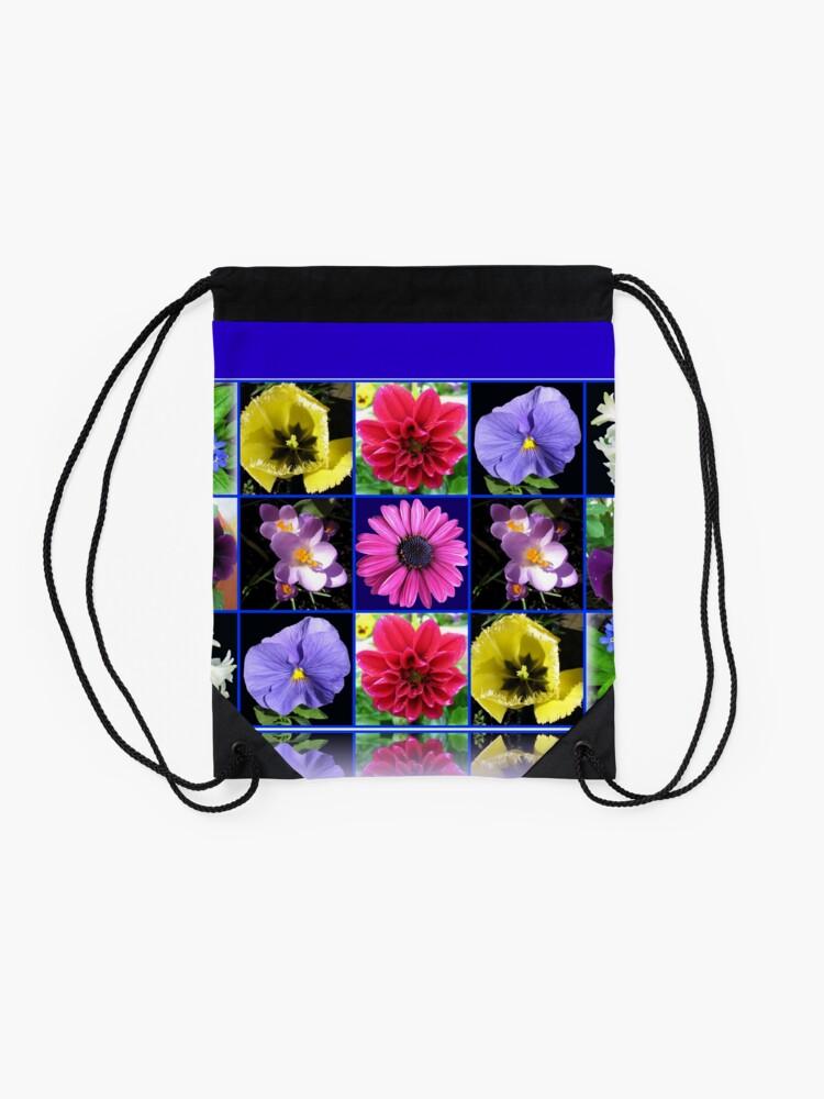 Alternative Ansicht von Voices of Spring - Floral Collage in Blue Reflection Frame Turnbeutel