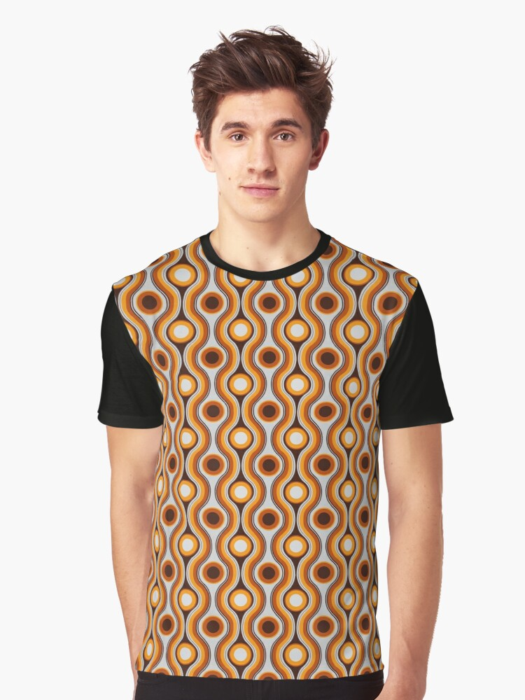 64d863e2b05ec 'Vintage 70s Retro Brown and Yellow Circles Pattern' Graphic T-Shirt by  ThisOnAShirt