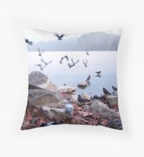 Flight of pigeons  Throw Pillow