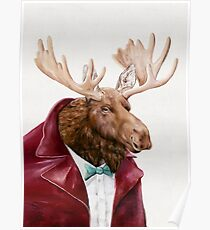 Moose In Maroon Poster