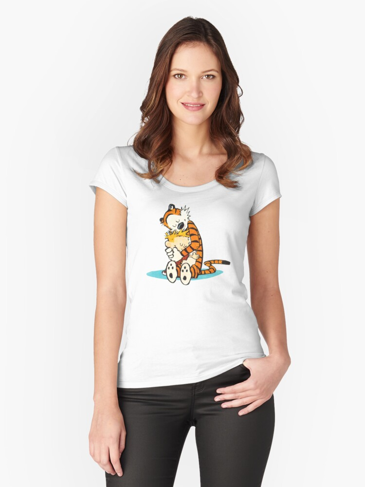 calvin and hobbes Women's Fitted Scoop T-Shirt Front