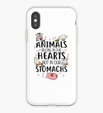 Animals Belong In Our Hearts Not In Our Stomachs iPhone Case