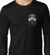 Funny Boxer Dog In Your Pocket Long Sleeve T-Shirt