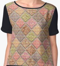 Colorful Geometric Rhombus Vector Pattern Chiffon Top
