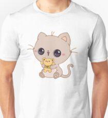 Little kitty with a teddy bear Unisex T-Shirt
