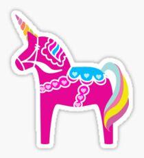 Rosa Dala Unicorn Horse Fun Schwedisch Sticker