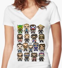 QWA Vinyl Pop-fighters Women's Fitted V-Neck T-Shirt