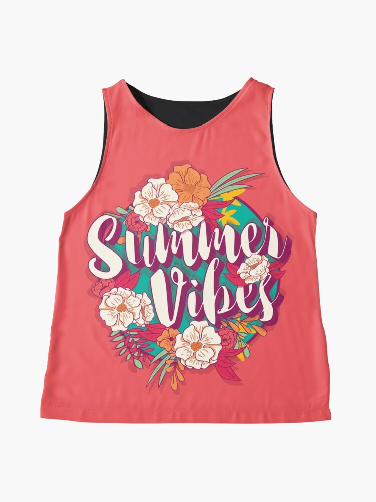 Alternate view of Summer vibes typography banner round design in tropical flower frame, vector illustration Sleeveless Top