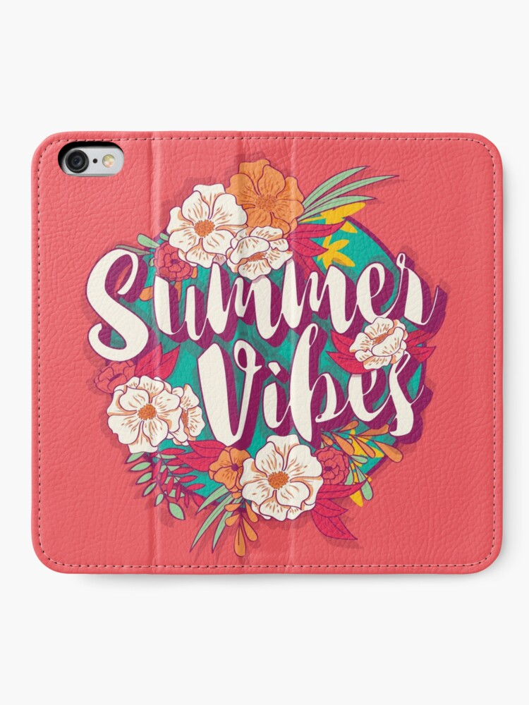Alternate view of Summer vibes typography banner round design in tropical flower frame, vector illustration iPhone Wallet