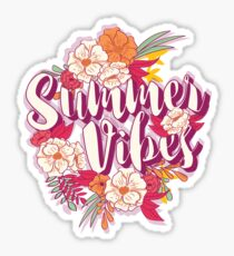 Summer vibes typography banner round design in tropical flower frame, vector illustration Sticker