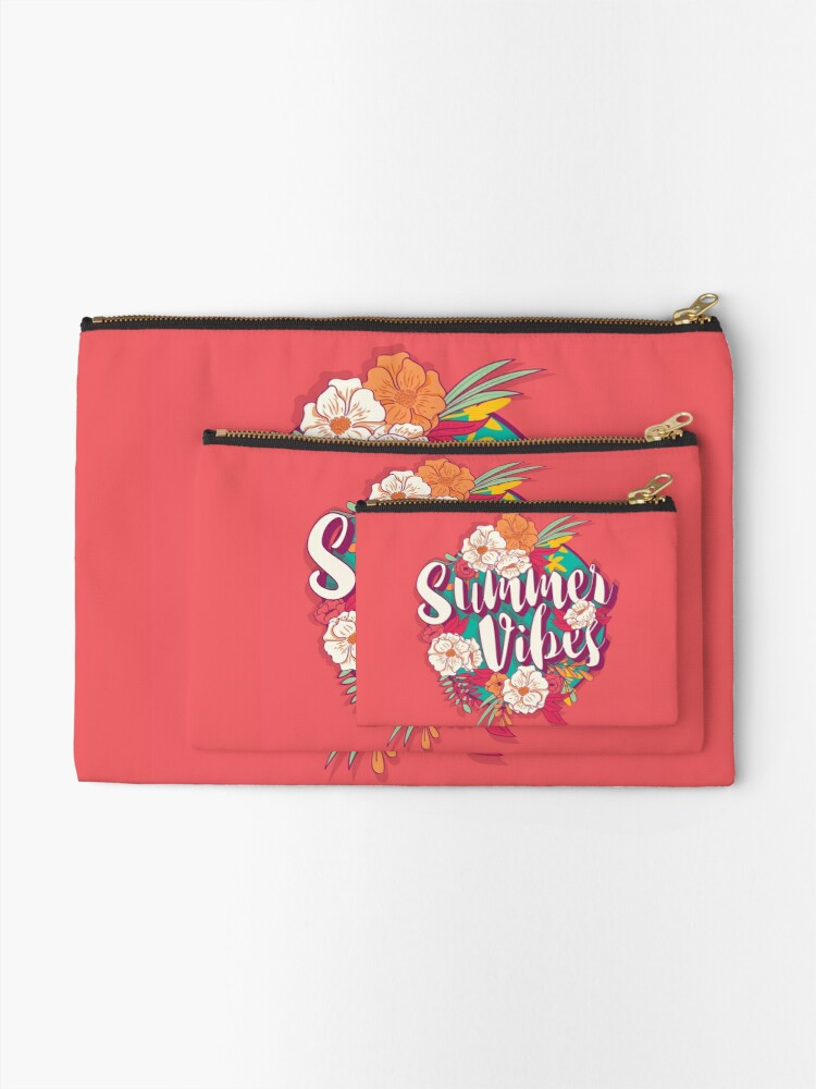 Alternate view of Summer vibes typography banner round design in tropical flower frame, vector illustration Zipper Pouch