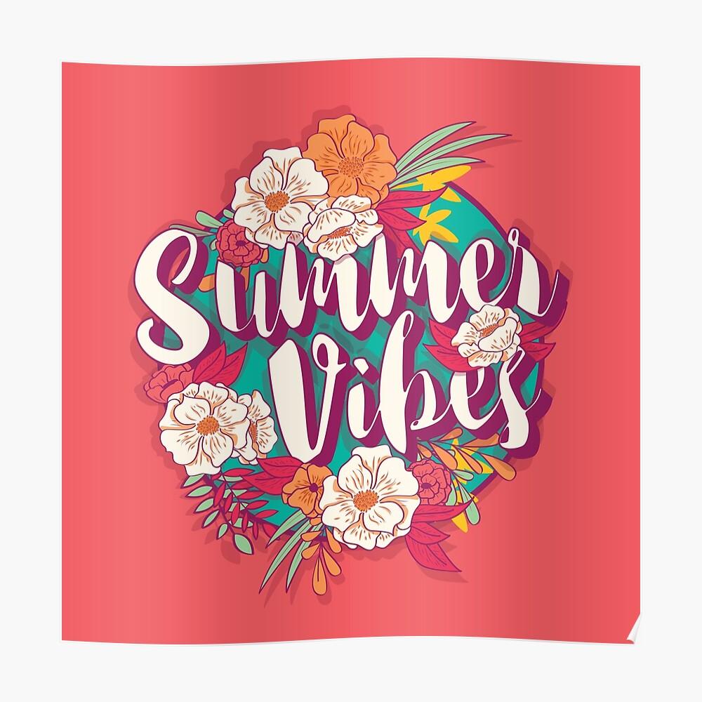 Summer vibes typography banner round design in tropical flower frame, vector illustration Poster