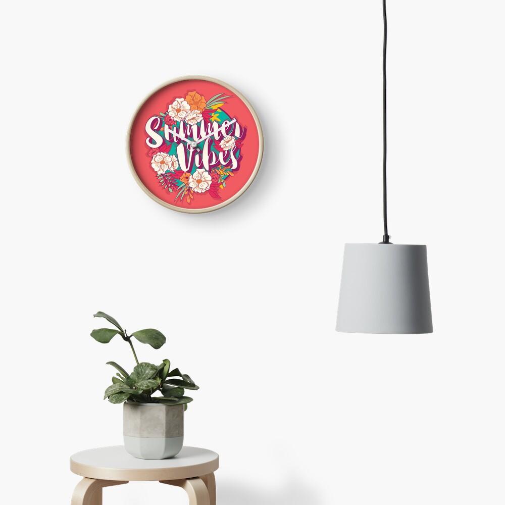 Summer vibes typography banner round design in tropical flower frame, vector illustration Clock