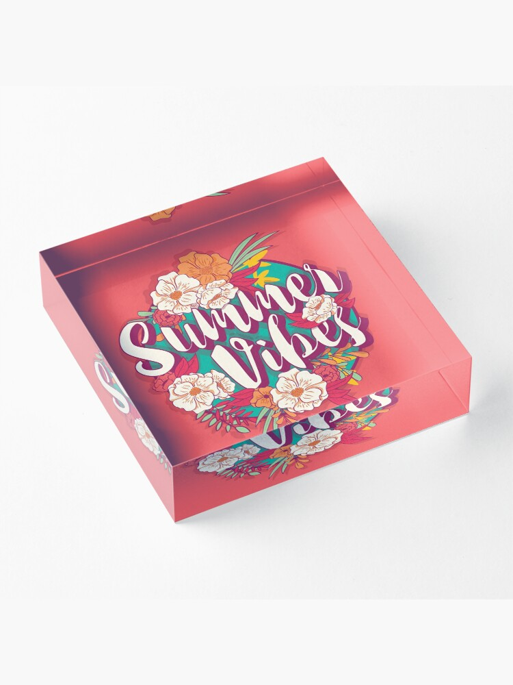 Alternate view of Summer vibes typography banner round design in tropical flower frame, vector illustration Acrylic Block