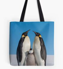 Emperor Penguins and Chick - Snow Hill Island Tote Bag