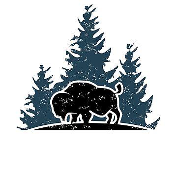 Buffalo in the woods by Kaplar