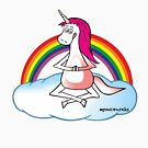 Yoga Unicorn with rainbow by claudiasartwork