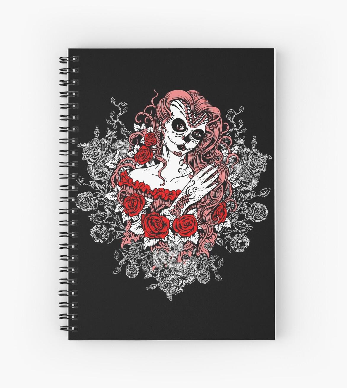 Arte Santa Muerte Diseño Del Tatuaje De La Muerte Rosen Cuaderno De Espiral By Anziehend
