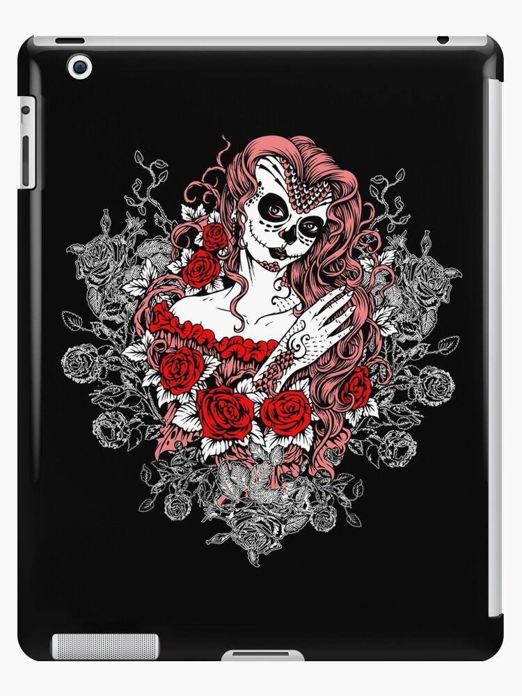 Arte Santa Muerte Diseño Del Tatuaje De La Muerte Rosen Vinilo O Funda Para Ipad By Anziehend