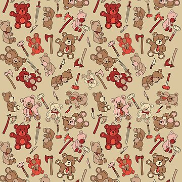 teddy bears & viking weapons pattern  by BGWdesigns