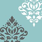 Scroll Damask Art I Teal Gray White by NataliePaskell