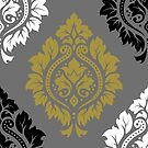 Decor Damask Pattern BW Gray Gold by NataliePaskell