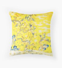 Five Phoenixes in The Garden ,Chinese Imperial Bright Yellow Floral Tapestry Throw Pillow