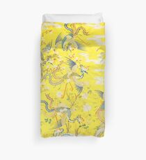 Five Phoenixes in The Garden ,Chinese Imperial Bright Yellow Floral Tapestry Duvet Cover