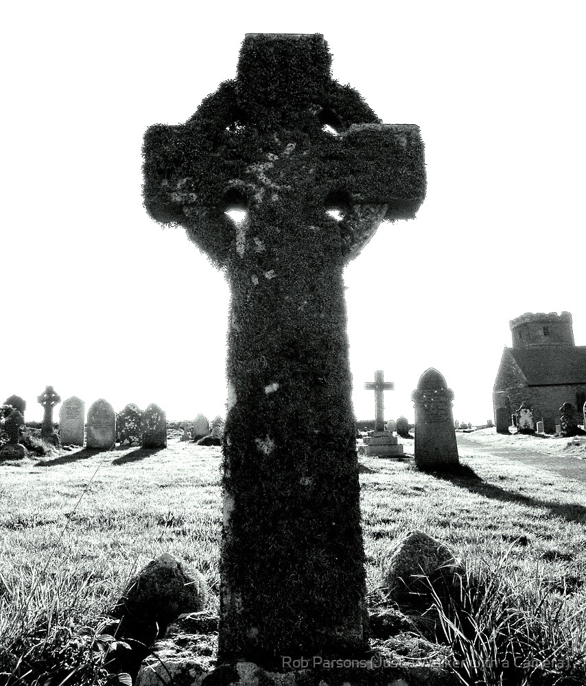 Cornwall: Celtic Cross at Tintagel Church by Robert Parsons